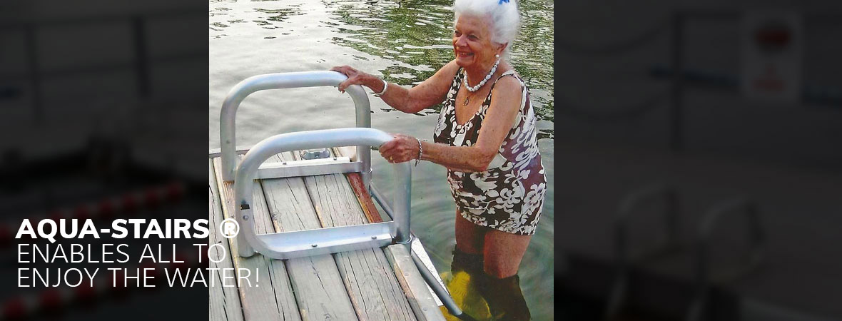 Senior using a dock ladder